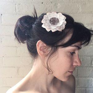 Handmade paper flower hair clip